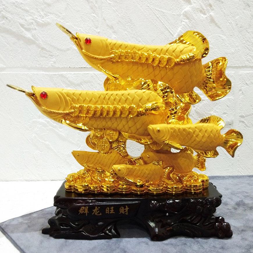 รูปปั้นปลามังกร ปลามงคลเรียกทรัพย์เสริมฮวงจุ้ย